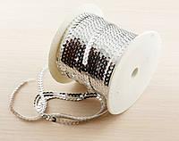 Пайетки на нитке серебро 1 метр (товар при заказе от 200 грн)