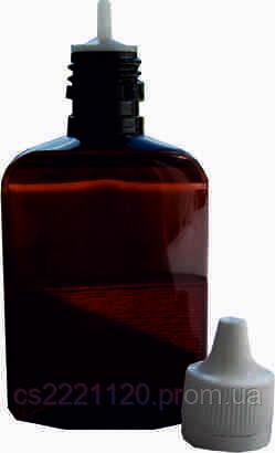 Бутылка пластиковая с дозатором и крышкой 100мл (коричневый)