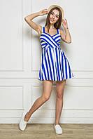 Летнее платье - сарафан из хлопка синее
