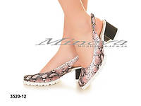 """Женские изумительные кожаные босоножки на каблуке с закрытым передом""""Змеиная кожа"""""""