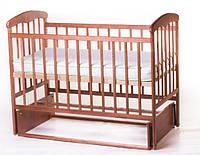 Кроватка детская Наталка с маятником темная ясень