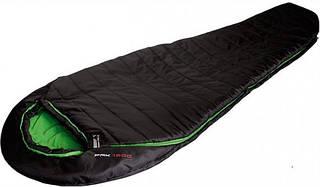 Надежный спальный мешок High Peak Pak 1300 /+3°C (Left) Black/green 922764 черный