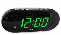 Часы сетевые VST 717-4 салатовые, настольные часы будильник для дома, часы сетевые электронные VST