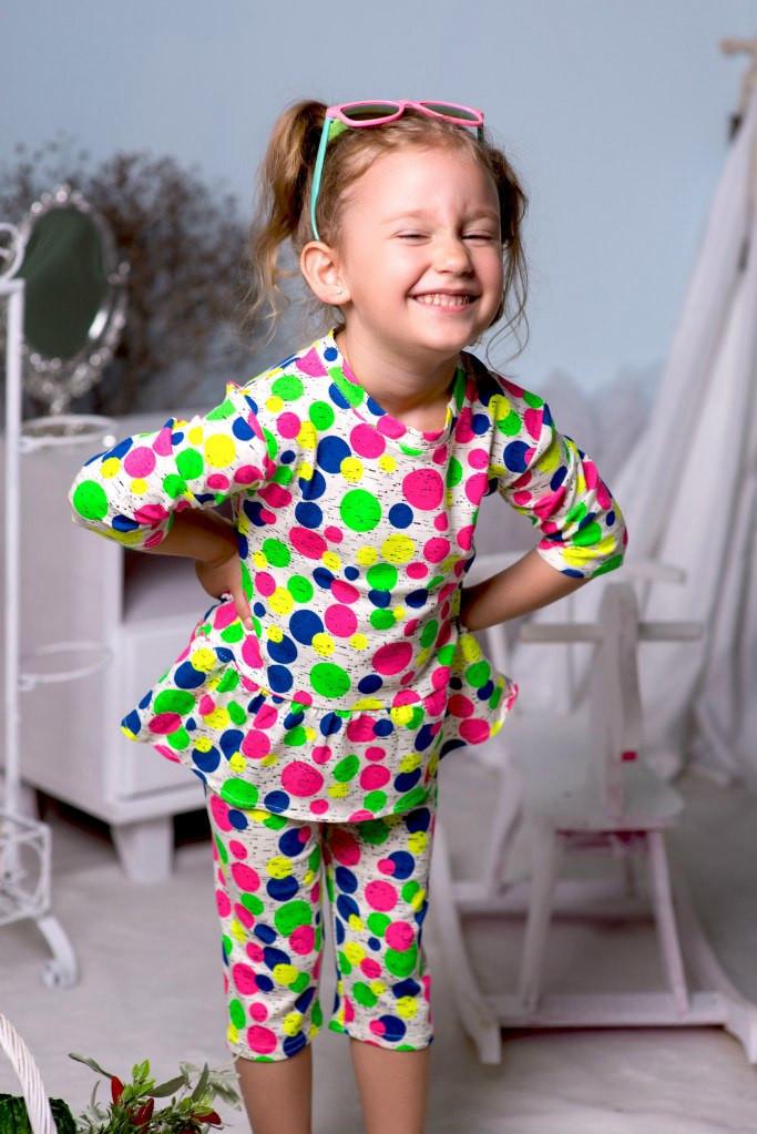 """Летний детский костюм для девочки """"Алиса"""" капри и блуза в горошек"""