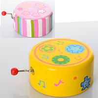Деревянная игрушка Шарманка MD 0697 музыка, 2 вида, в кульке, 7-7-3,5 см