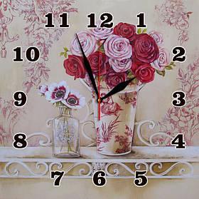 """Часы настенные стеклянные """"Розы прованс"""""""