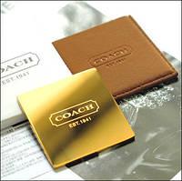 Золотое карманное зеркальце в замшевом чехле от COACH ( Коуч)