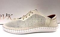 Мокасины летние мужские Broni кожаные белые B0031