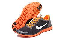 Мужские кроссовки Найк Free 3.0 v2 Black/Grey/Orange Реплика