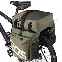 Сумка на велосипедный багажник двубортная навесная 3 в 1 Roswheel