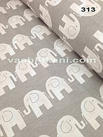 Хлопковая ткань слоны на сером № 313