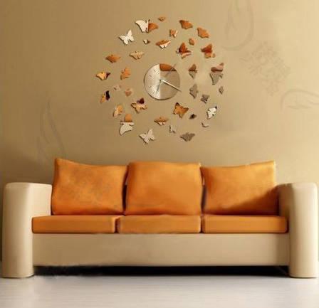 Зеркальные часы Бабочки серебро, фото 2