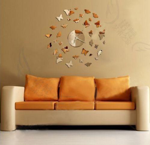 Зеркальные часы Бабочки серебро