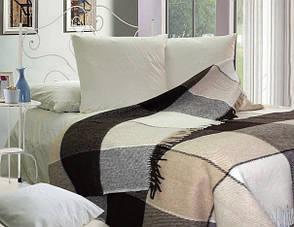 Вовняний плед Vladi Ельф біло-бежево-коричневий у велику клітку, фото 2