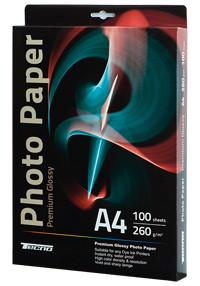 Фотобумага глянцевая А4, 260 гр./м2, 100лист./упак.