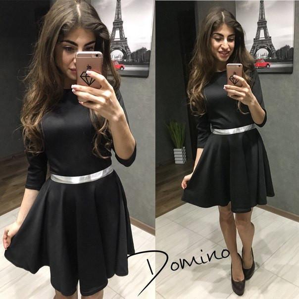Чёрное платье с лентой