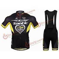 Сантич велосипед Велоспорт костюмы мужские короткие спортивные Джерси с коротким рукавом и нагрудник шорты