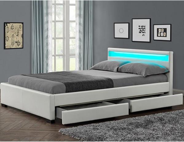 Кровать двуспальная LYON из екокожи 140х200 см. LED