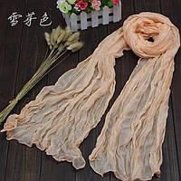Легкий жатый шарф кремовый