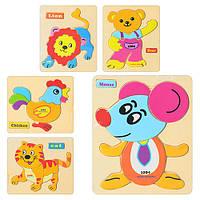 Деревянная игрушка Рамка-вкладыш MD 0674  5 видов, животное-пазл, 15-13см