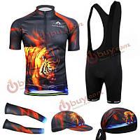 Велосипед Велоспорт костюм Джерси нагрудник шорты носить рубашку мужчины тигра