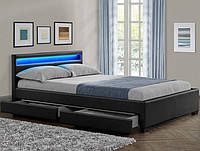 Кровать LYON из екокожи черная 180х200 см. LED