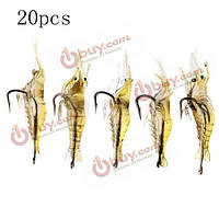 20шт креветки рыболовные приманки мягкая креветка креветки рыболовную приманку с крючком