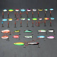 30шт металла смешанных блесны рыболовную приманку щука лососевых приманок бас рыба с 3 крючками