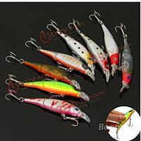 8шт минноу рыбалка приманки crank bait с крючками бас кривошипно приманки