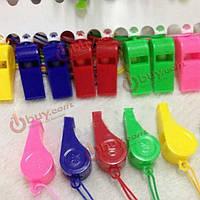 Свистки пластиковые на веревочке разноцветные 20 шт
