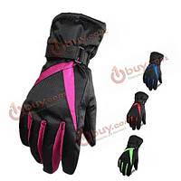 Женщины толстые лыжные перчатки водонепроницаемая ветронепроницаемая зима перчаток поднимаются на перчатки зимнего вида спорта