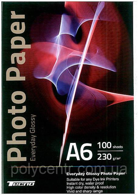 Глянцевая фотобумага  Tecno A6, 180г/м2, 100листов