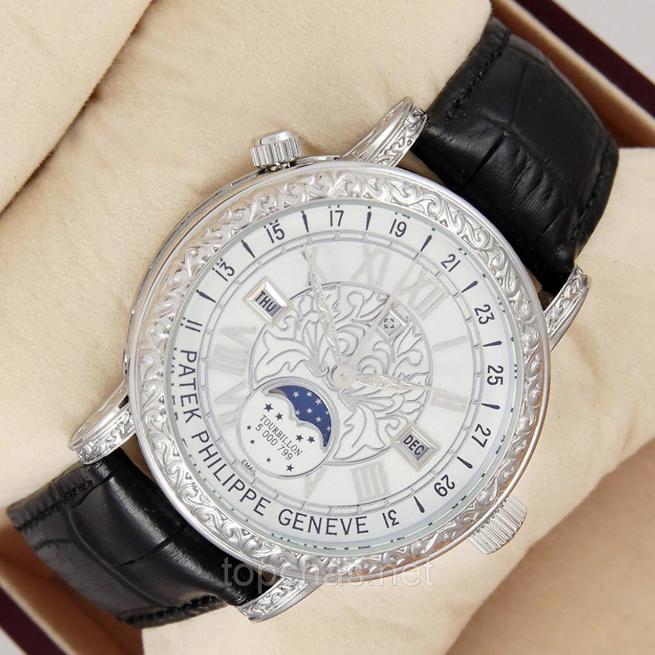 77021339 Мужские кварцевые наручные часы Patek Philippe Grand Complications Sky Moon  Tourbillon на кожаном ремешке - Top