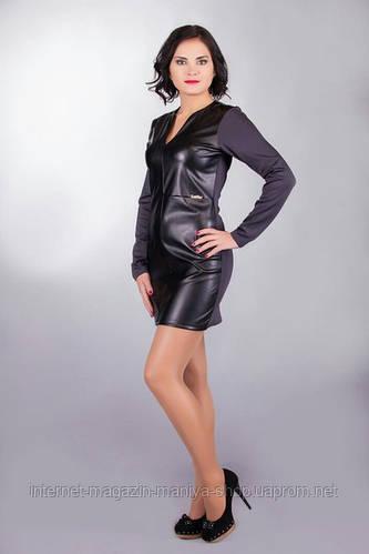 Платье женское эко кожа
