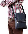 Повседневная мужская кожаная сумка с клапаном Alvi av-99blue, фото 7