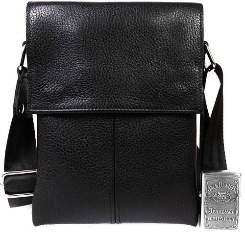 Мужская кожаная сумка на каждый день черного цвета Alvi av-140black