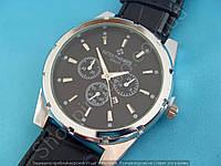 Часы Patek Philippe 114014 серебристые мужские на черном ремешке с календарем черный циферблат