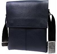 Модная мужская кожаная сумка-планшет на плечо синего цвета Alvi av-106blue