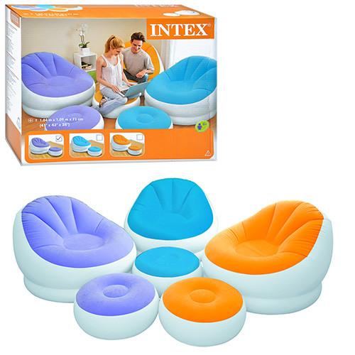 Велюровое кресло надувное овальное Intex 68572