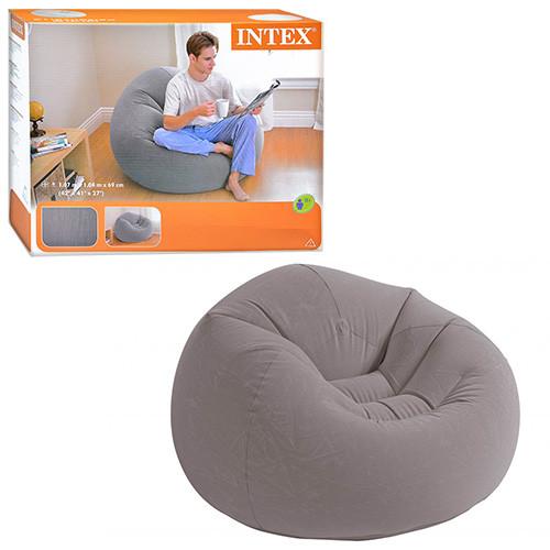 Велюровое кресло надувное круглое Intex 68579