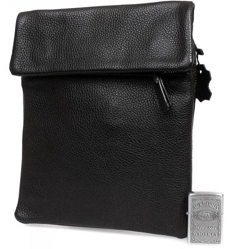 Функциональная мужская кожаная сумка формата А5 на плечо, черная Alvi av-3-8009