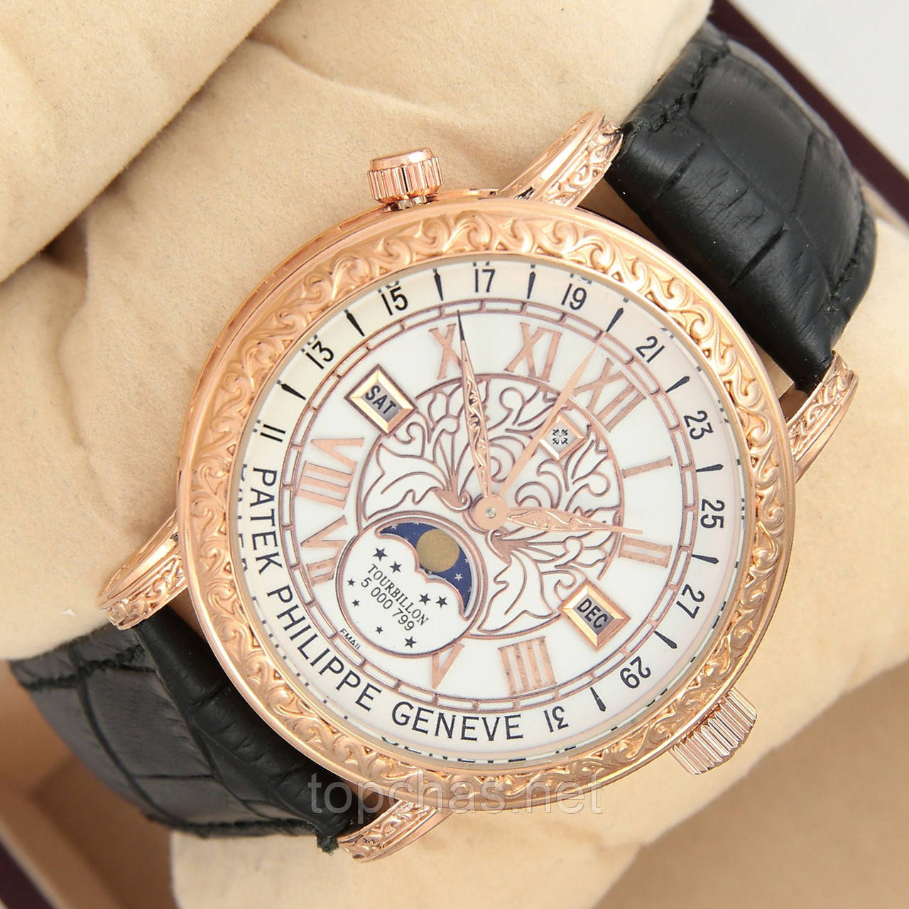 Мужские кварцевые наручные часы Patek Philippe Grand Complications Sky Moon  Tourbillon на кожаном ремешке f4bf214b64d