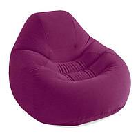 Велюровое кресло надувное круглое Intex 68584