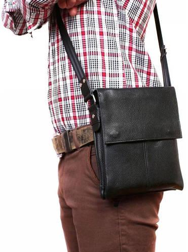 Компактная мужская сумка-планшет на плечо, кожаная Alvi av-106black черный