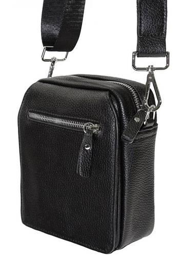 Удобная кожаная сумка для документов и телефона черного цвета Alvi av-8-0668