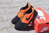 Мужские спортивные беговые кроссовки кросівки чоловічі Найк обувь для бега роше ран 2016 черные с оранже сетка