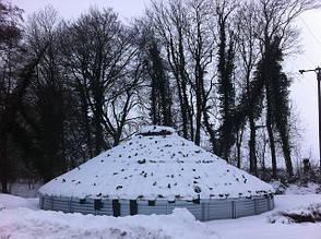 Испытание крыши металлического силоса для хранения зерна