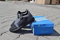 Мужские спортивные беговые кроссовки кросівки чоловічі обувь для бега Adidas yeezy boost черные c серым