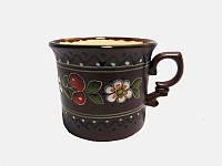 Чашка глиняная малая обрезная Вишня (С росписью Вишенка)