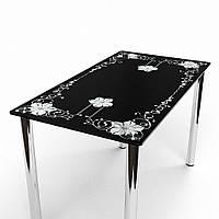 Стол стеклянный обеденный Цветок 910x610*Эко